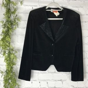 Vintage Act 3 Black Velour Beaded Women's Blazer M